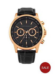 french-connection-chrono-dial-rose-godl-tone-black-strap-mens-watch