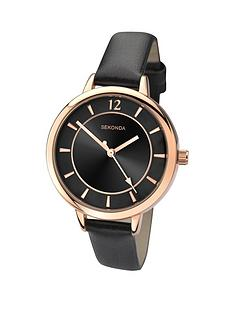 sekonda-black-dial-gold-case-cream-strap-ladies-watch