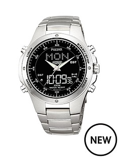pulsar-duo-display-multifunction-world-timer-black-dial-silver-bracelet-mens-watch