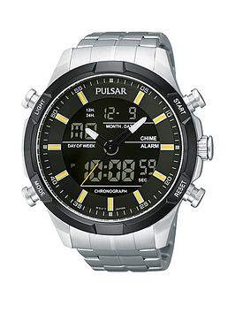 pulsar-duo-display-multifunction-black-dial-with-yellow-accents-stainless-steel-bracelet-mens-watch