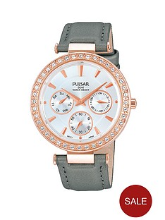 pulsar-multidial-rose-gold-white-dial-grey-fine-mesh-strap-ladies-watch
