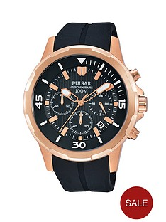pulsar-chronograph-rose-gold-besel-black-dial-silicon-strap-mens-watch