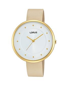 Lorus White Sunray Dial with Nude Leather Strap Ladies Watch
