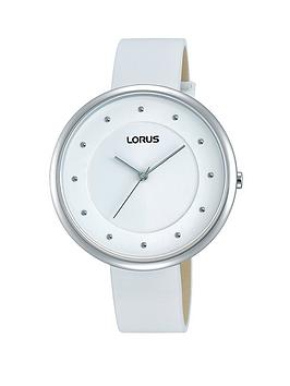 Lorus White Sunray Dial with White Leather Strap Ladies Watch