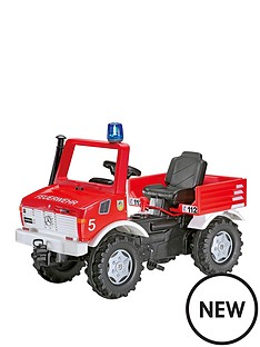 rolly-toys-fire-brigade-unimog-with-gears-handbrake-and-blue-flashing-light