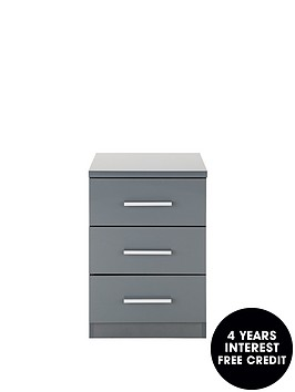 prague-high-gloss-3-drawer-bedside-chest