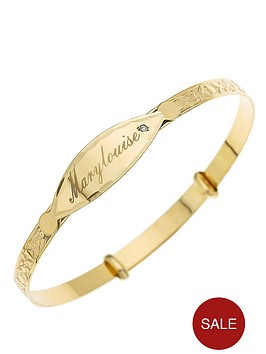 9-carat-yellow-gold-childs-hearts-and-flowers-diamond-set-personalised-id-expander-bangle