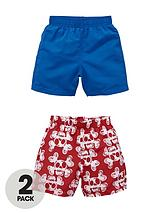 Toddler Boys Skull Print and Magic Shark Print Board Shorts (2 pack)