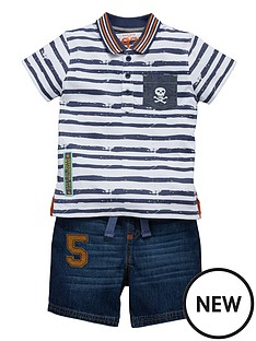 ladybird-printed-polo-t-shirt-and-denim-shorts-set