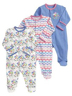 mamas-papas-flower-sleepsuits-3-pack
