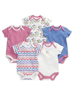 mamas-papas-flower-bodysuits-5-pack
