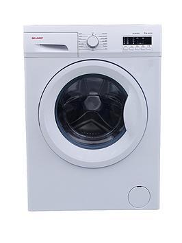 sharp-es-fa6102w2-1000-spin-6kg-load-slimline-washing-machine-white