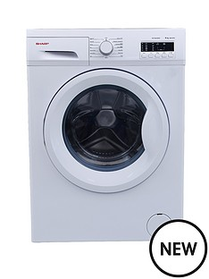 sharp-es-fa6102w2-6kg-load-1000-spin-slimline-washing-machine-white