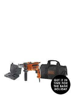 black-decker-kr714cresk-gb-710w-corded-percussion-hammer-drill-plus-a7216-xj-32-piece-accessory-set-in-softbag