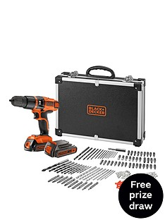 black-decker-egbl188bafc-gb-18v-lithium-ion-combi-hammer-drill-with-2-batteries-160-accessories-and-flight-case-free-prize-draw-entry