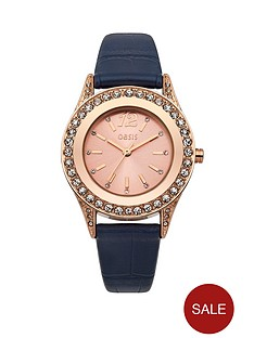 oasis-rose-gold-tone-navy-strap-ladies-watch