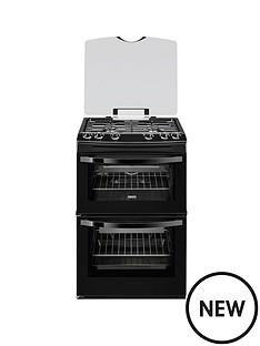 zanussi-zcg63010ba-60-cm-gas-freestanding-double-oven-black