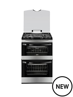 zanussi-zcg63010xa-60-cm-gas-freestanding-double-oven-stainless-steel