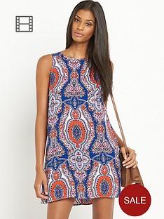 glamorous-sleeveless-blueorange-paisley-print-dress