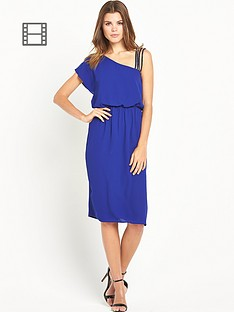 warehouse-one-shoulder-diamante-strap-dress