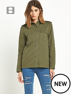 miss-selfridge-khaki-cotton-twill-overshirt
