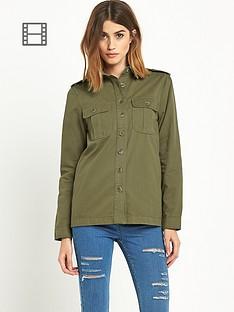 miss-selfridge-khaki-cotton-twill-overshirt