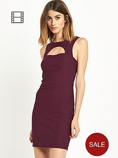 miss-selfridge-burgundy-texture-dress