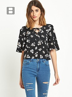 miss-selfridge-printed-angel-sleeve-t-shirt
