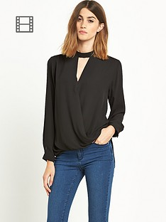 miss-selfridge-high-neck-drape-blouse