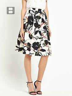 warehouse-poppy-print-skirt