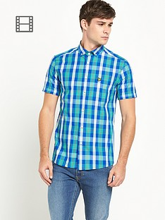 lyle-scott-mens-short-sleeve-check-shirt-green