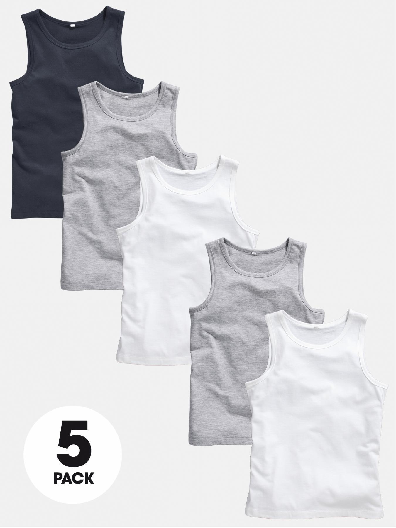 Boys Basic Vest Tops (5 Pack)