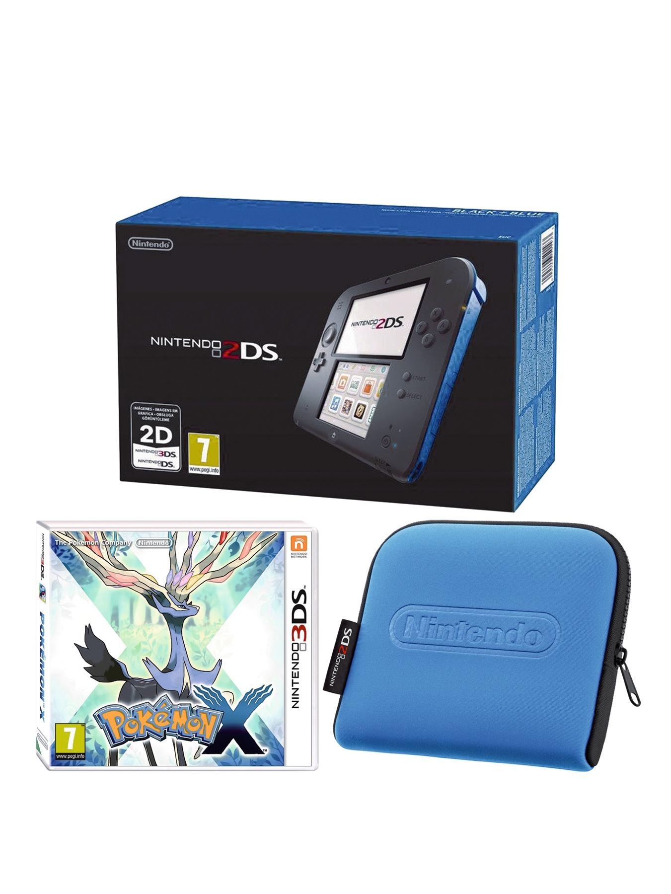 2DS Black and Blue Console with Pokemon X and 2DS Case