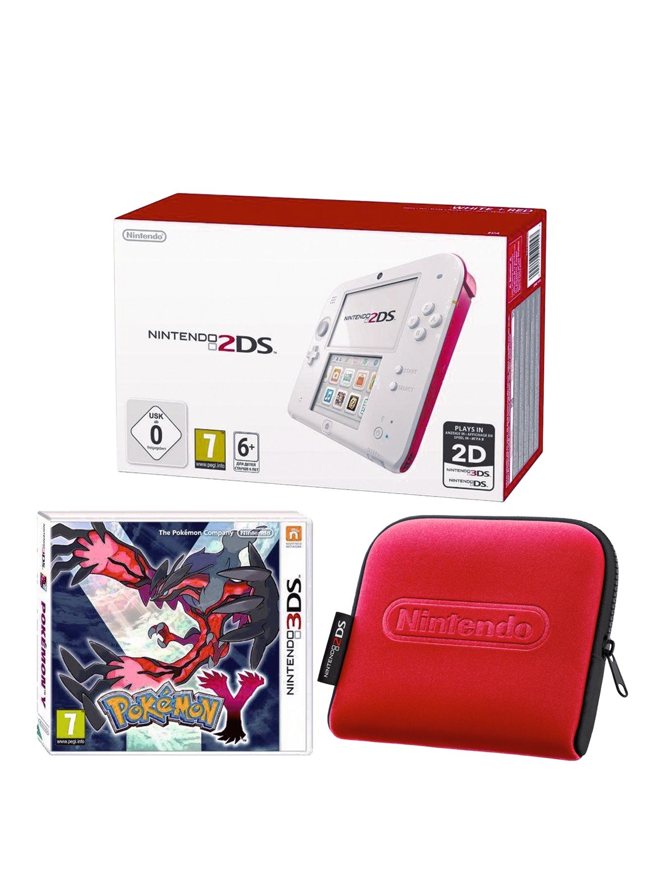 2DS Red and White Console with Pokemon Y and 2DS Case