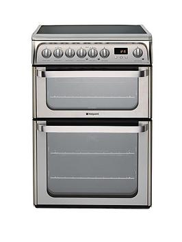 Hotpoint Ultima Hue61Xs 60Cm Double Oven Electric Cooker With Ceramic Hob  Stainless Steel