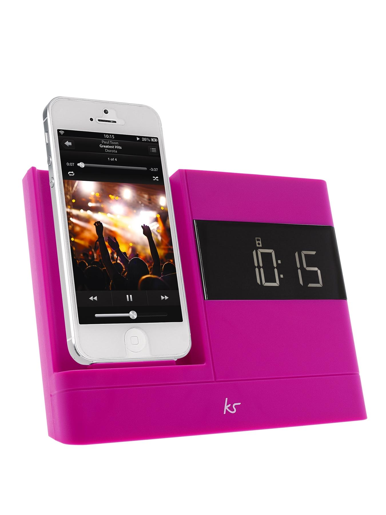 X-Dock 2 8 Pin Lightning Connector Clock Radio Dock for iPhone 5 - Pink