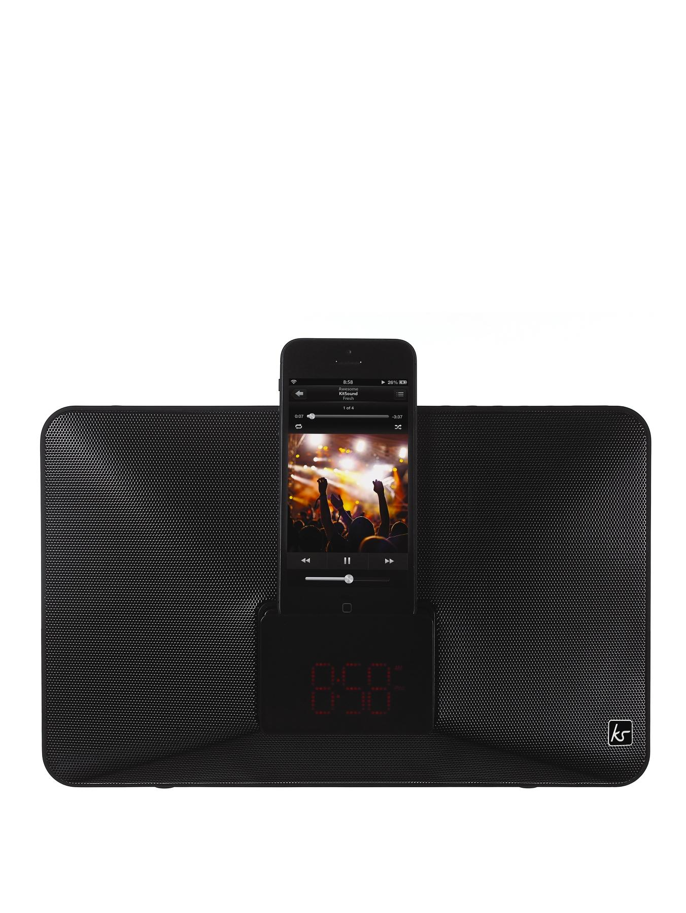 Fresh 8 Pin Lightning Clock Radio Speaker Docking Station - Black