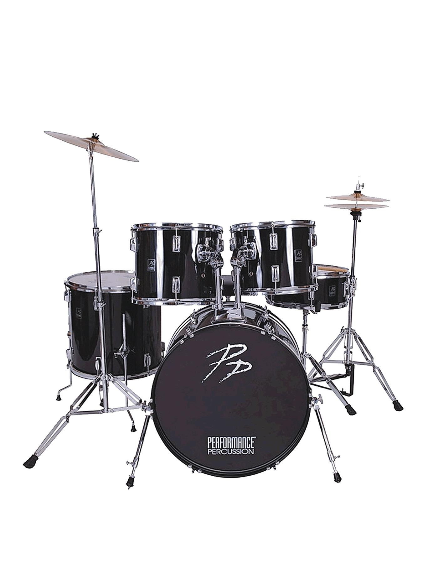 Full Size Drum Kit Musical Instrument - Black (5 piece)