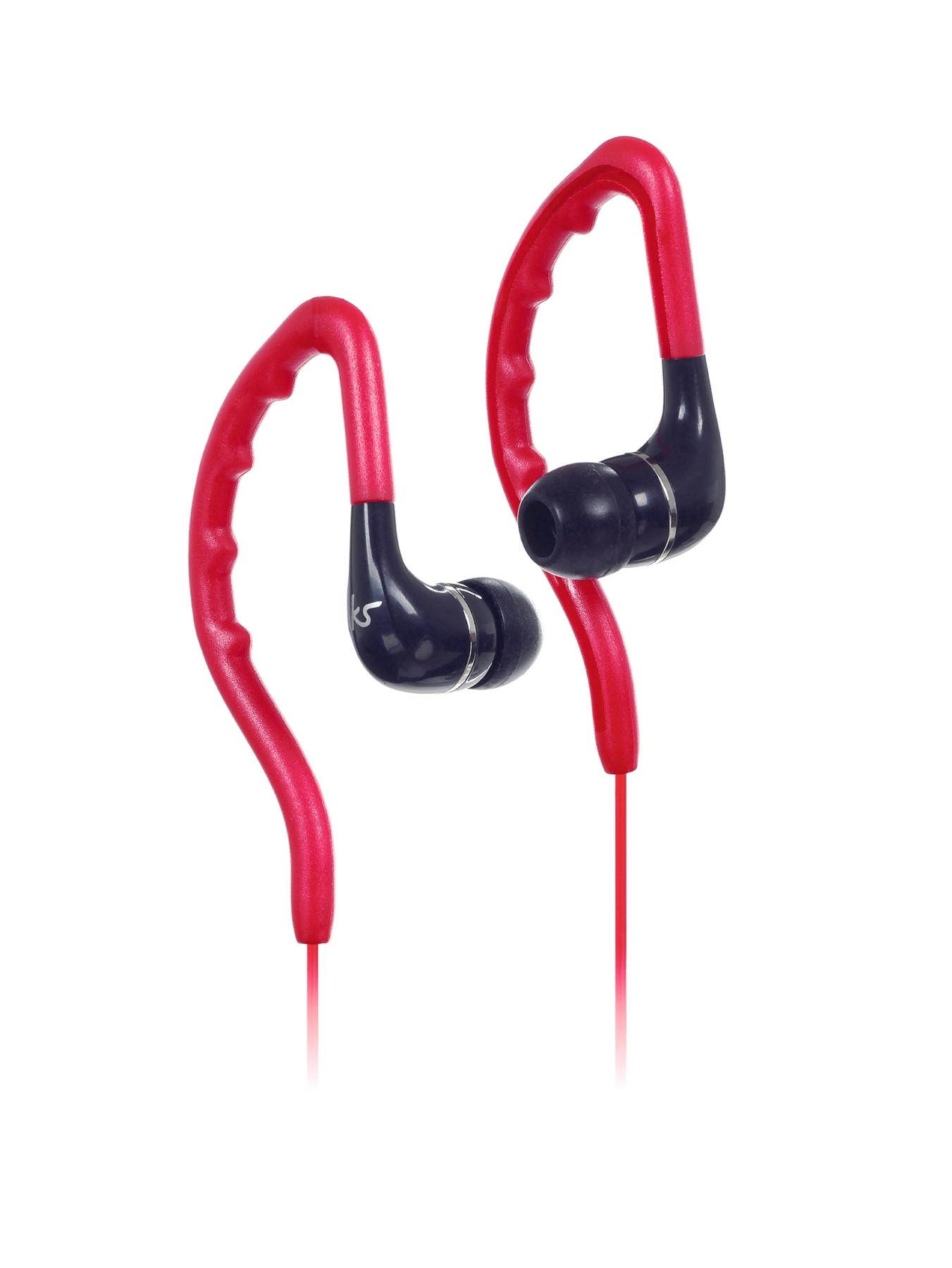 Enduro Water Resistant Sports Earhook Earphones - Red
