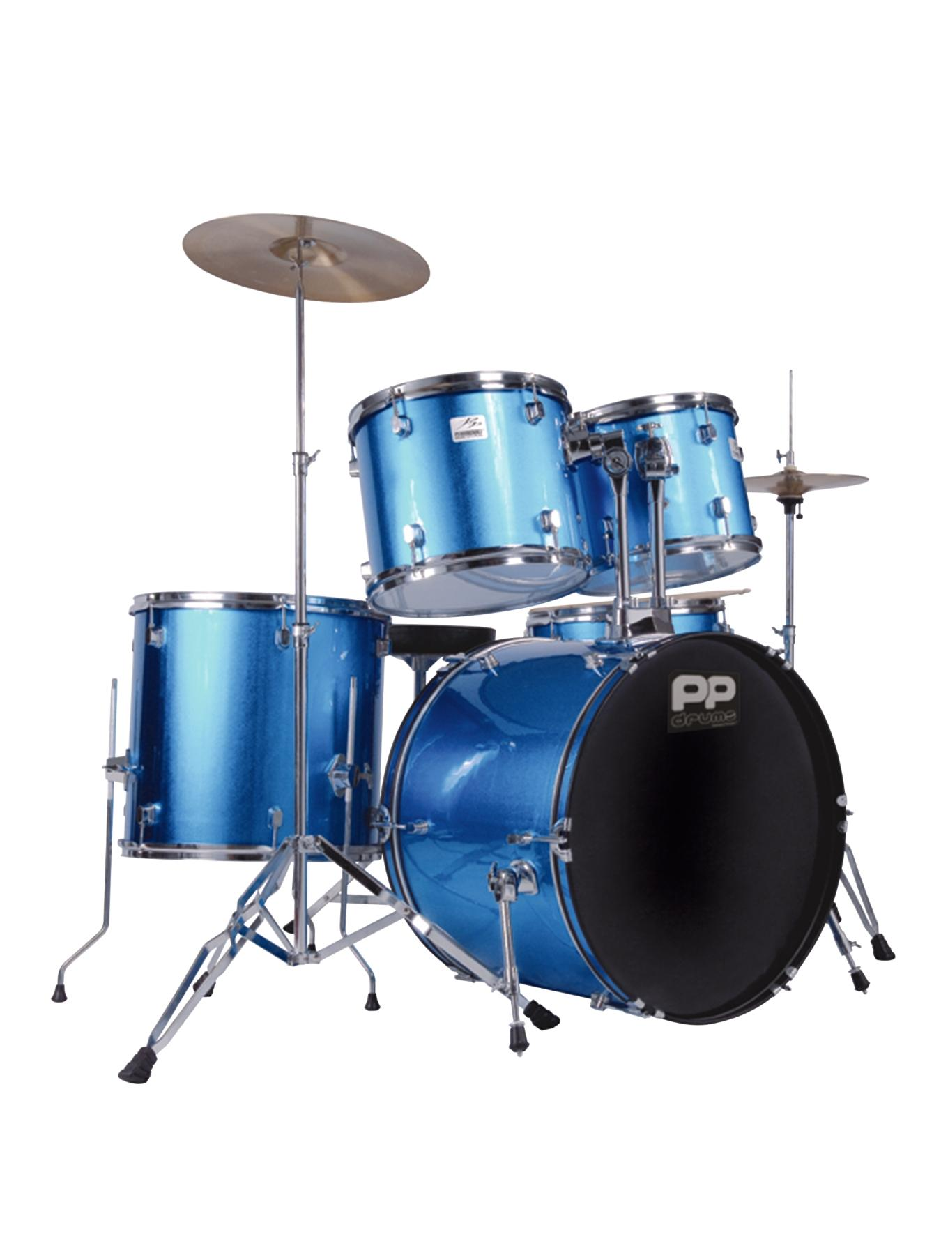 Full Size 5-piece Drum Kit Musical Instrument - Blue.