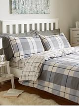 Brushed Cotton Check Duvet Cover Set - Grey