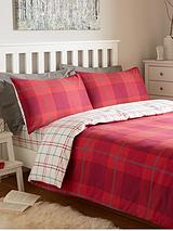 Brushed Cotton Check Duvet Cover Set - Red