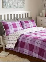 Brushed Cotton Check Duvet Cover Set - Aubergine