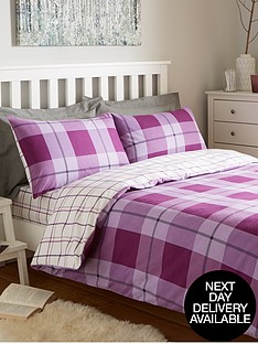 brushed-cotton-check-duvet-cover-set-aubergine