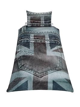 Skycovers Union Jack Single Denim Duvet Cover Set