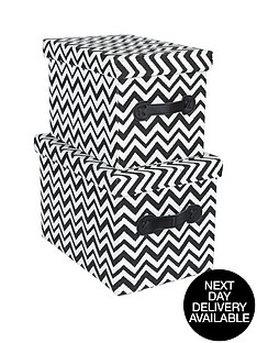 set-of-2-chevron-design-rectangular-lidded-boxes-blackwhite