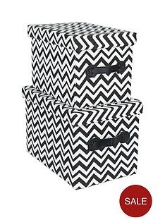 set-of-2-chevron-design-rectangular-lidded-boxes-blackwhite