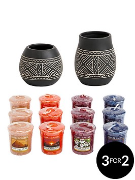 yankee-candle-2-african-etched-ceramic-votive-holders-with-12-votives