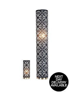 geo-laser-cut-floor-and-table-lamp-set-black