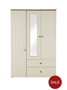 alderley-3-door-combi-wardrobe-with-mirror-cream-oak